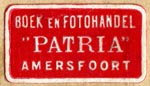 Patria, Boek en Fotohandel, Amersfoort, Netherlands (24mm x 13mm, after 1924). Courtesy of Robert Behra.