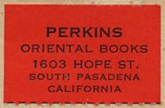 Perkins Oriental Books, South Pasadena, California (29mm x 19mm, ca.1948).