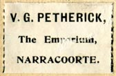 V.G. Petherick, The Emporium, Narracoorte, Australia (27mm x 18mm, ca.1908). Courtesy of Robert Behra.