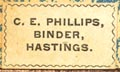 C.E. Phillips, Binder, Hastings, New York (20mm x 12mm, ca.1895). Courtesy of Robert Behra.
