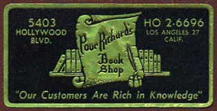 Poor Richard's Book Shop, Los Angeles, California (51mm x 26mm). Courtesy of Donald Francis.