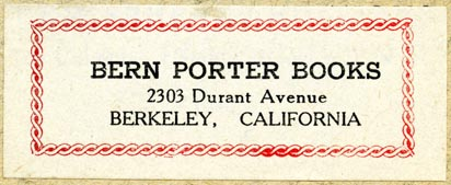 Bern Porter Books, Berkeley, California (69mm x 27mm). Courtesy of Robert Behra.