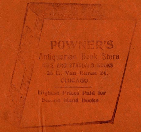 Powner's Antiquarian Book Store, Chicago, Illinois (inkstamp, 64mm x 70mm). Courtesy of Robert Behra.