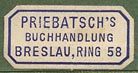 Priebatsch's Buchhandlung, Breslau, Germany (22mm x 11mm, early 20th c.).