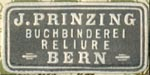 J. Prinzing, Buchbinderei - Reliure [binder], Bern, Switzerland (24mm x 12mm, ca.1913). Courtesy of Robert Behra.