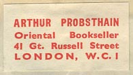 Arthur Probsthain, Oriental Bookseller, London, England (31mm x 17mm).