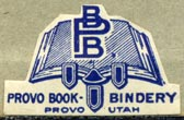 Provo Book-Bindery, Provo, Utah (27mm x 17mm). Courtesy of Robert Behra.