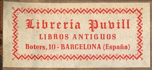 Libreria Puvill, Barcelona, Spain (51mm x 23mm, ca.1942).