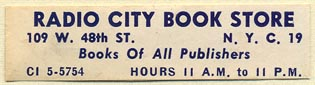Radio City Book Store, New York, NY (51mm x 13mm). Courtesy of Donald Francis.