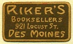 Riker's, Booksellers, Des Moines, Iowa (22mm x 13mm)