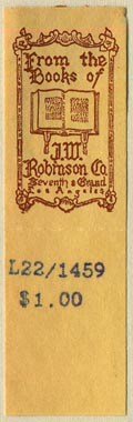 J.W. Robinson Co., Los Angeles, California (19mm x 34mm, without tear-off)