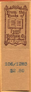 JW Robinson Co., Los Angeles, California (33mm x 19mm without tear-off, ca.1926?)