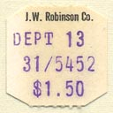 J.W. Robinson Co., Los Angeles, California (19mm x 19mm). Courtesy of Donald Francis.