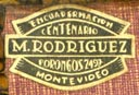 M. Rodriguez, Encuadernacion, Montevideo, Uruguay (20mm x 14mm, after 1921). Courtesy of Robert Behra.