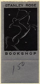 Stanley Rose, Bookshop, Hollywood, California (25mm x 39mm, without tear-off). Courtesy of Donald Francis.