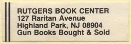 Rutgers Book Center, Highland Park, New Jersey (43mm x 13mm). Courtesy of Donald Francis.