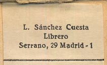 L. Sánchez Cuesta, Librero, Madrid, Spain (74mm x 34mm, ca.1966).