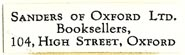 Sanders of Oxford, Booksellers, Oxford, England (30mm x 9mm). Courtesy of S. Loreck.