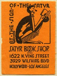 The Satyr Book Shop, Hollywood, California (30mm x 41mm). Courtesy of Donald Francis.