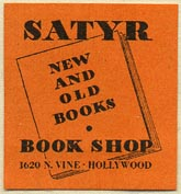 The Satyr Book Shop, Hollywood, California (27mm x 29mm). Courtesy of Donald Francis.