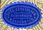 Scheidbach, Buchhandlung, Marburg an der Drau [now Maribor, Slovenia] (24mm x 17mm). Courtesy of Robert Behra.