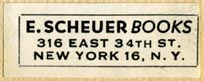 E. Scheuer Books, New York (33mm x 13mm). Courtesy of Robert Behra.