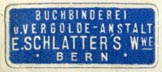E. Schlatter's Wwe. [?], Buchbinderei u. Vergolde-Anstalt, Bern, Switzerland (26mm x 11mm, ca.1925). Courtesy of Robert Behra.