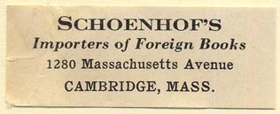 Schoenhof's Foreign Books, Cambridge, Massachusetts (51mm x 19mm). Courtesy of Donald Francis.