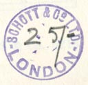 Schott & Co., London, England (inkstamp, 20mm dia.). Courtesy of Robert Behra.