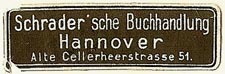 Schrader'sche Buchhandlung, Hannover, Germany (36mm x 12mm). Courtesy of S. Loreck.