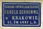 Karol Schramm, Zaklad Introligatorski [binder?], Kraków, Poland (23mm x 16mm). Courtesy of Robert Behra.