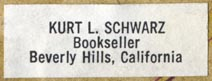 Kurt L. Schwarz, Bookseller, Beverly Hills, California (34mm x 12mm). Courtesy of Robert Behra.
