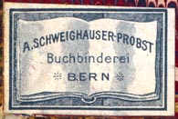 A. Schweighauser-Probst, Buchbinderei, Bern, Switzerland (32mm x 21mm). Courtesy of Robert Behra.