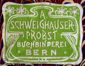 A. Schweighauser-Probst, Buchbinderei, Bern, Switzerland (27mm x 21mm). Courtesy of Robert Behra.