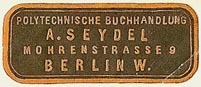 A. Seydel, Polytechnische Buchhandlung, Berlin, Germany (33mm x 13mm). Courtesy of S. Loreck.