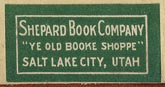 Shepard Book Company, Salt Lake City, Utah (26mm x 13mm).