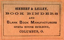 Siebert & Lilley, Bookbinders, Columbus, Ohio (35mm x 22mm, 1880s). Courtesy of Robert Behra.