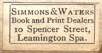 Simmons & Waters, Leamington Spa, England (23mm x 11mm ). Courtesy of Robert Behra.
