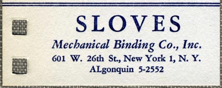 Sloves Mechanical Binding Co., New York, NY (72mm x 89mm, ca.1952). Courtesy of Robert Behra.