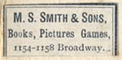 M.S. Smith & Sons, Book Pictures Games, Oakland, California (22mm x 10mm, ca.1890s). Courtesy of Robert Behra.
