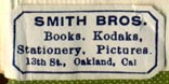 Smith Bros., Oakland, California (25mm x 12mm). Courtesy of Robert Behra.