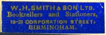 W.H. Smith & Son, Birmingham, England (35mm x 11mm). Courtesy of Robert Behra.