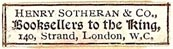 Henry Sotheran & Co., London, England (28mm x 7mm). Courtesy of S. Loreck.