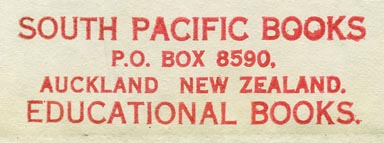 South Pacific Books, Auckland, New Zealand (59mm x 19mm, ca.1963).