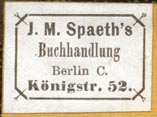 J.M. Spaeth's Buchhandlung, Berlin, Germany (25mm x 18mm). Courtesy of Robert Behra.