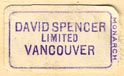David Spencer, Ltd, Vancouver BC, Canada (19mm x 11mm, ca.1933).