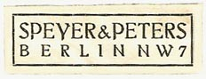 Speyer & Peters, Berlin, Germany (37mm x 14mm, ca.1925). Courtesy of Michael Kunze.