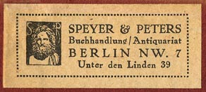 Speyer & Peters, Berlin, Germany (48mm x 20mm, ca.1924).