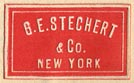 G.E. Stechert & Co., New York  (red/ivory, 21mm x 13mm, after 1910)