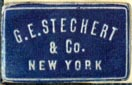 G.E. Stechert & Co., New York  (blue/white, 21mm x 13mm)